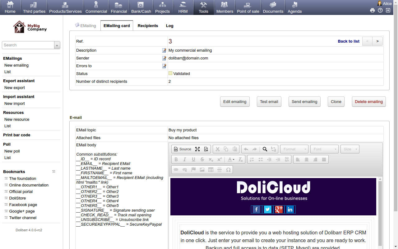 DoliCloud ERP & CRM