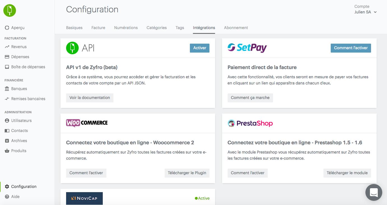 Intégrations sur Zyfro (e-commerce, paiement, financement...)