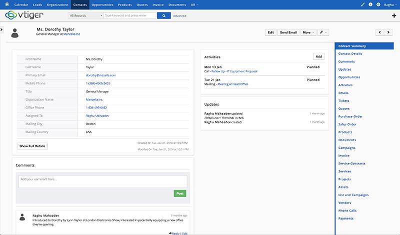 Vtiger CRM: Site Web (plugin, formulaire), Visualisation et suivi des projets, Prévision des ventes