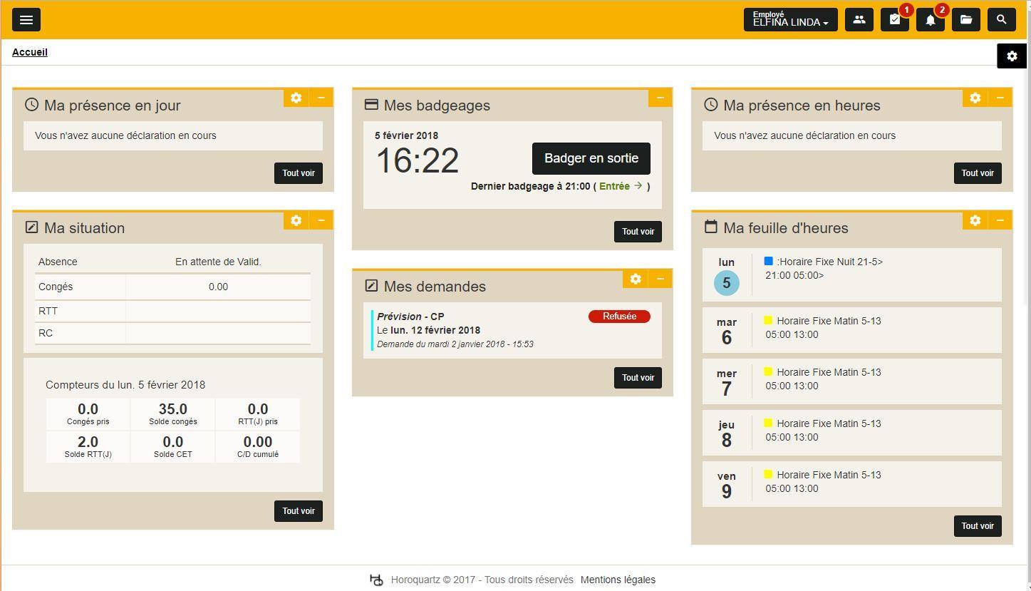 eTemptation 5.4 : écran d'accueil / dashboard collaborateur