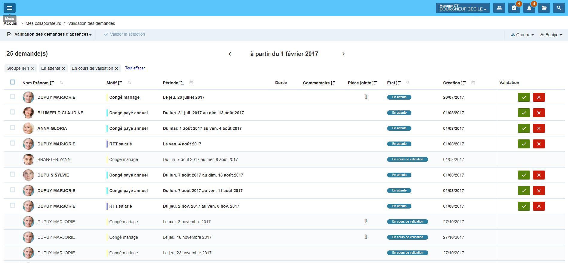 eTemptation 5.4 : validation des demandes par le/la manager
