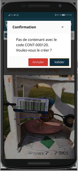 Scan des code-barres des contenants pour éviter les erreurs de saisie et avoir une traçabilité