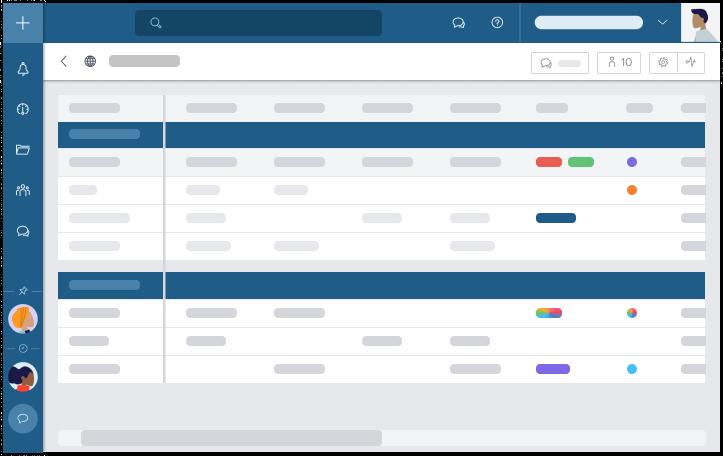 Les filtres personnalisés de la Vue Tableau vous permettent de travailler de manière plus productive et offrent une flexibilité de mise en page pour effectuer une gestion avancée des tâches dans chaque projet.