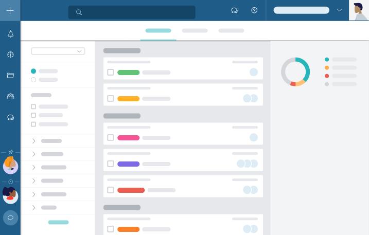 L'Aperçu global de Taskworld vous montre l'ensemble de vos activités au même endroit. Filtrez les informations pour regarder que ce qui est important pour vous.