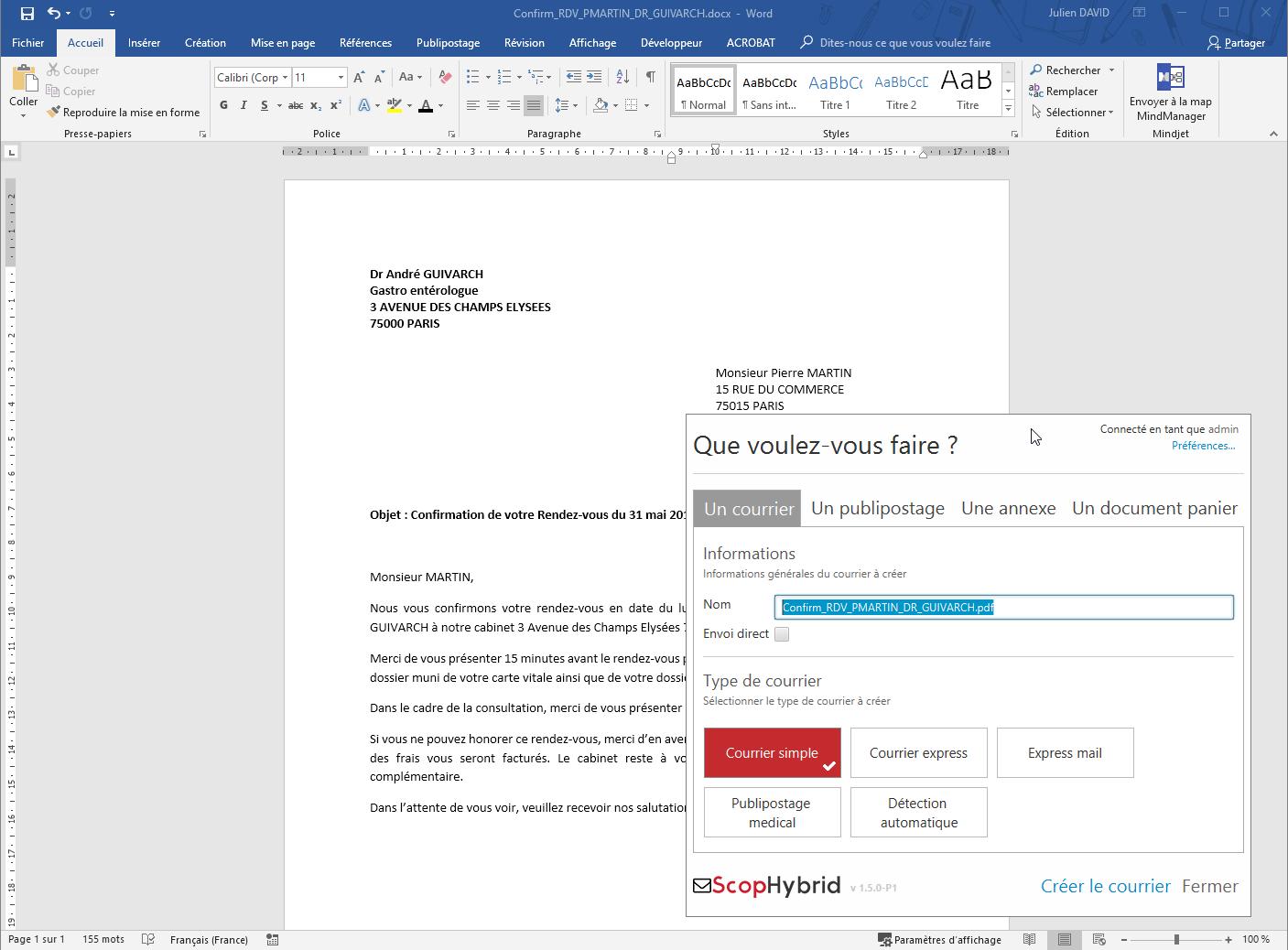 Je créer mon courrier depuis ma suite bureautique