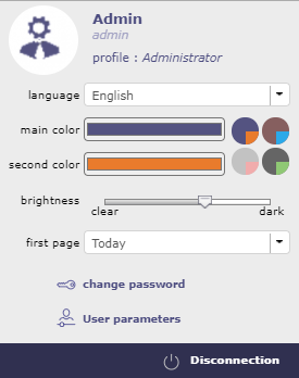 User parameters Quick access to most used user parameters (more on user screen)
