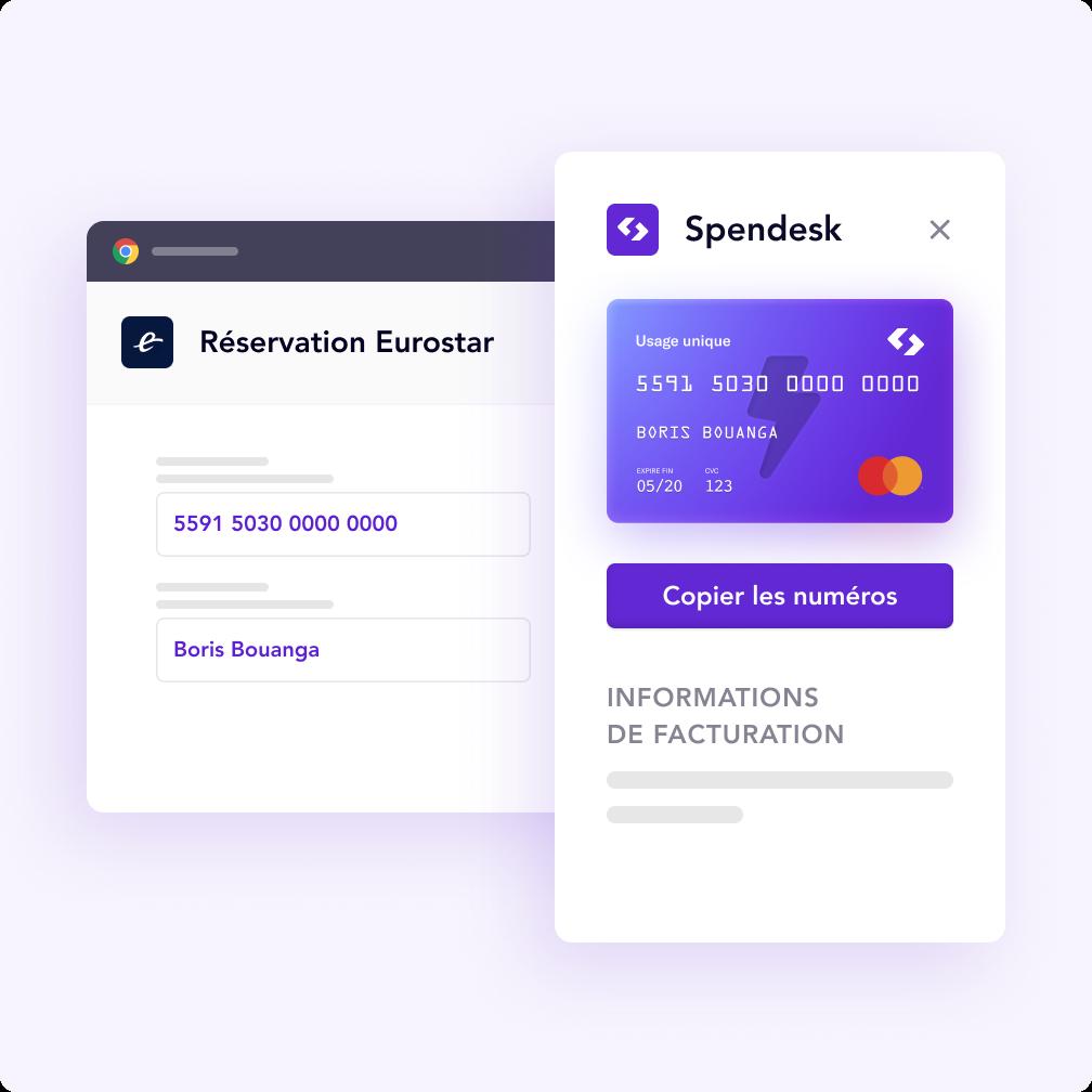 Achat en ligne avec un carte virtuelle sécurisée Spendesk.