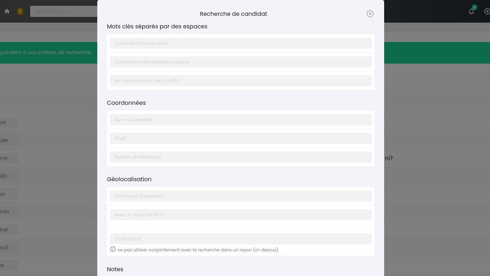 RecrutOr, multiples critères de recherche dans la cvthèque