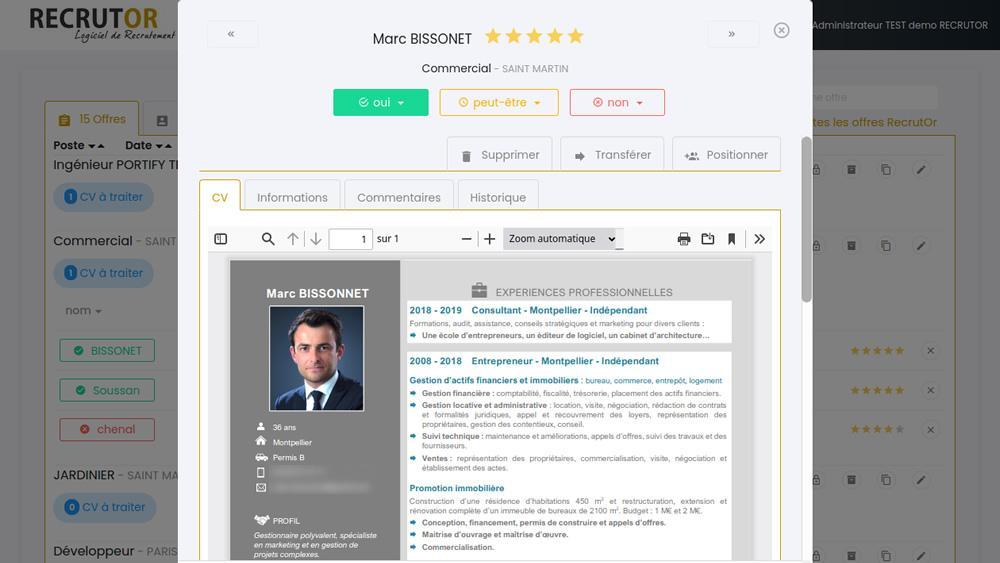 RecrutOr, affichage des CV en un clic