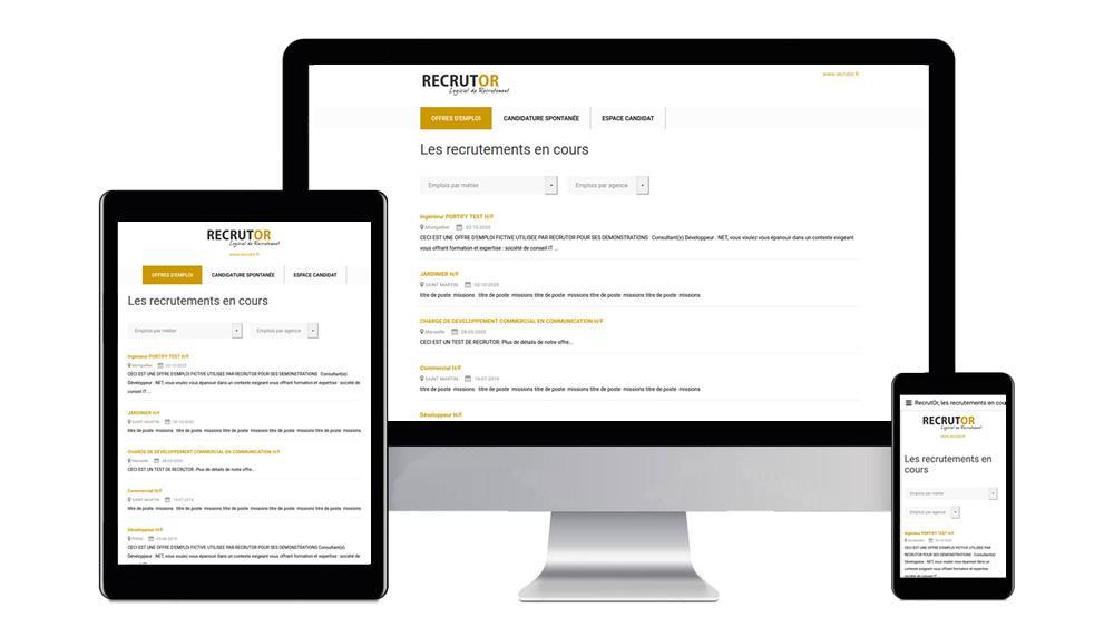 RecrutOr, adapté aux écrans d'ordinateurs, tablettes et smartphones