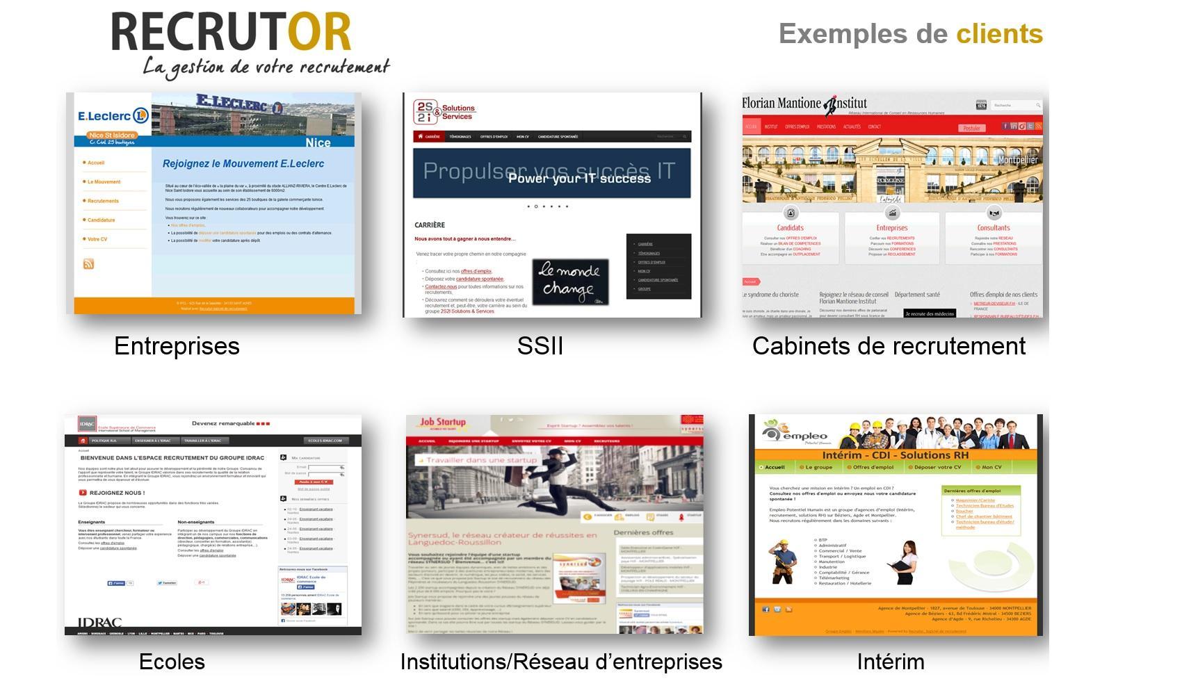 Exemples de clients RECRUTOR