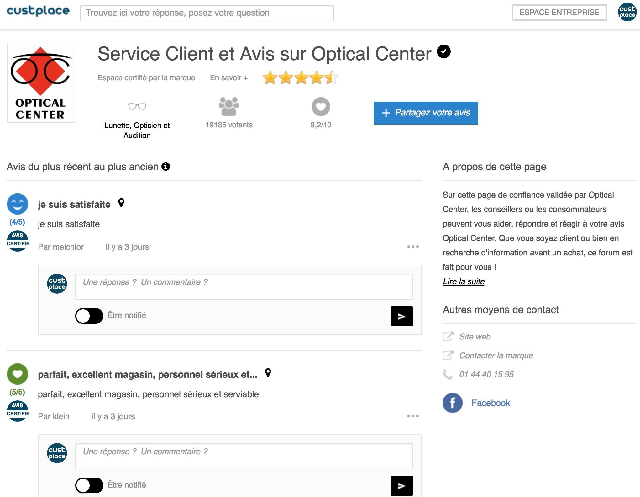 Page d'évaluation et de diffusion des avis clients