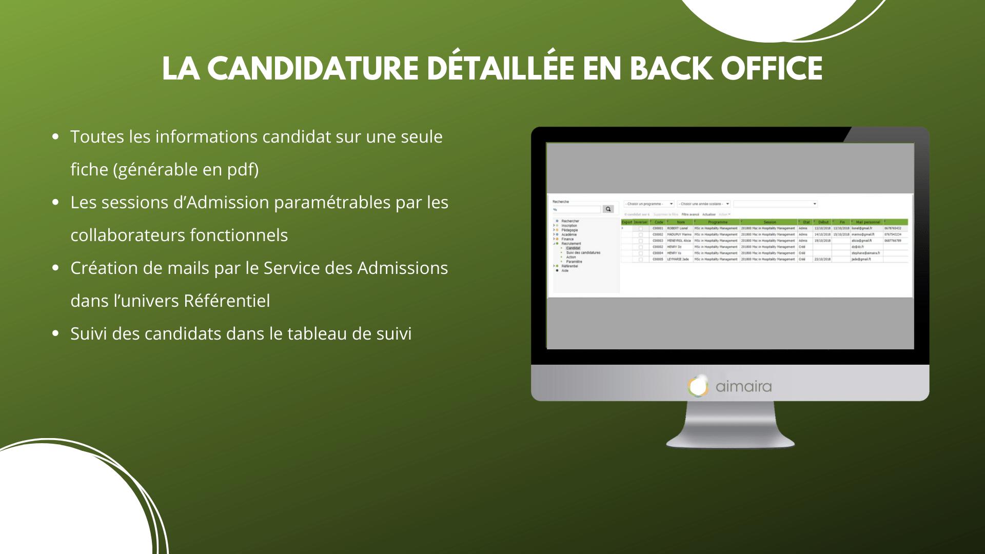 candidature back office aimaira erp
