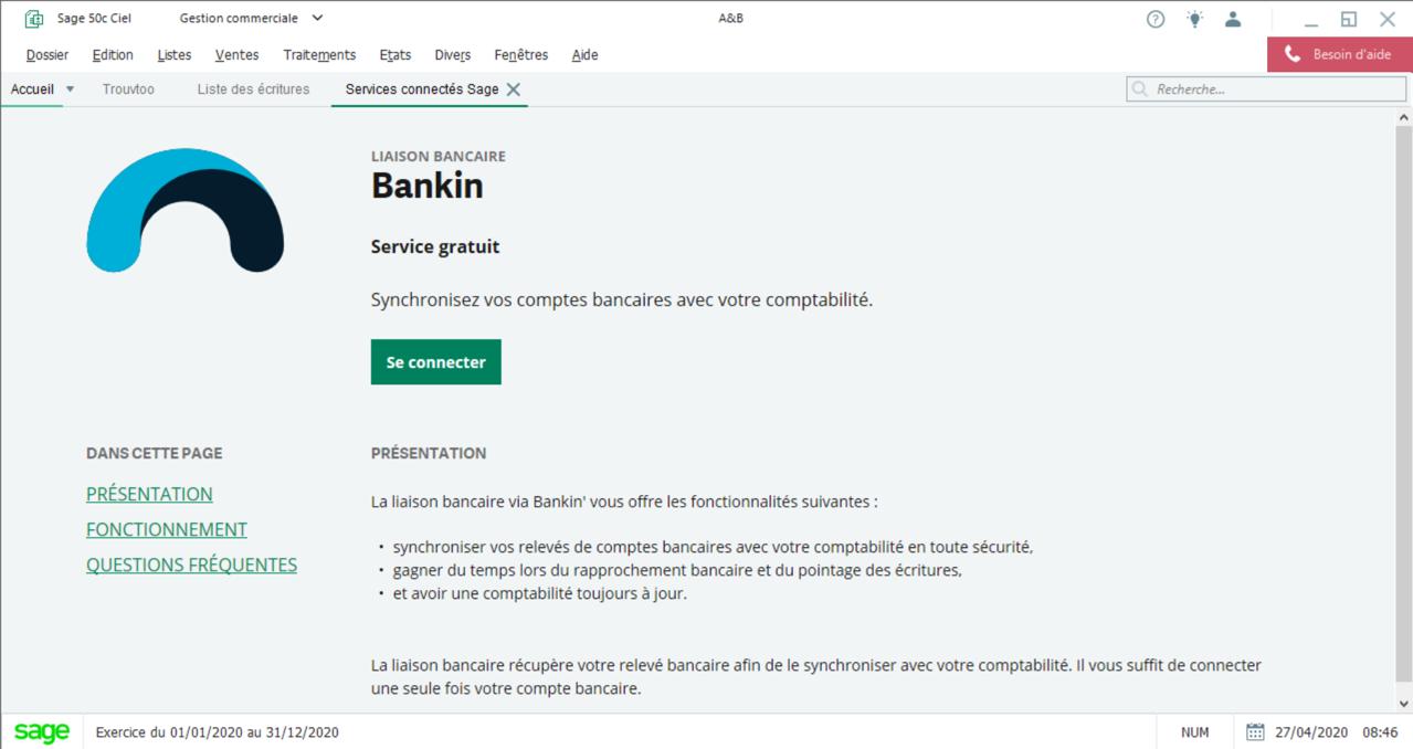 Connexion entre vos comptes bancaires et votre comptabilité