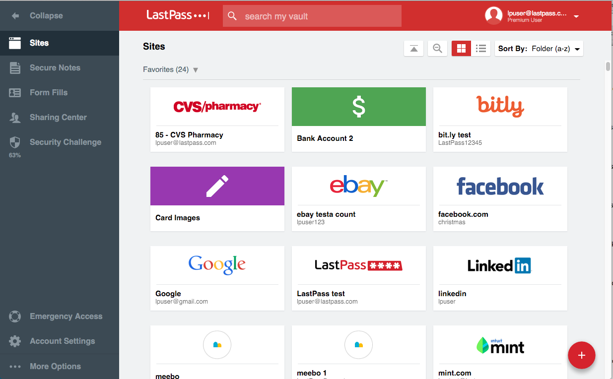 Interface de LastPass 3