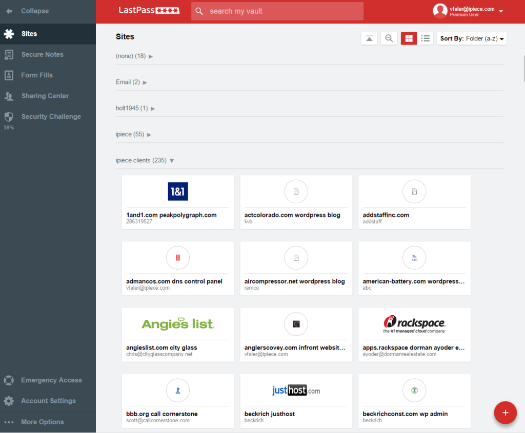 Interface de LastPass 1