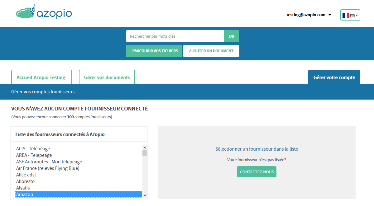 L'utilisateur peut connecter ses comptes bancaires et fournisseurs permettant ainsi la récupération automatique des transactions bancaires et des factures