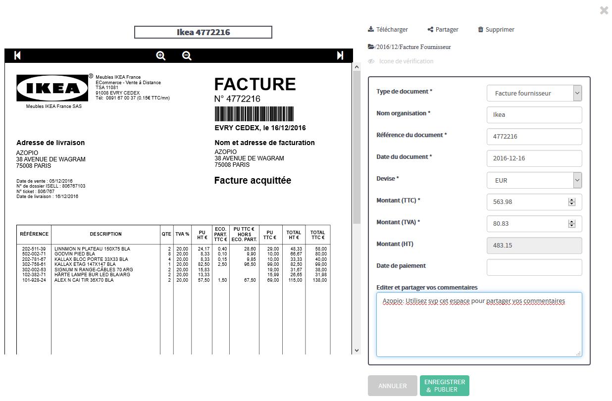 L'utilisateur peut vérifier les données extraites par les algorithmes d'Azopio avant de les envoyer vers une plateforme comptable en ligne ou de les exporter sous Excel