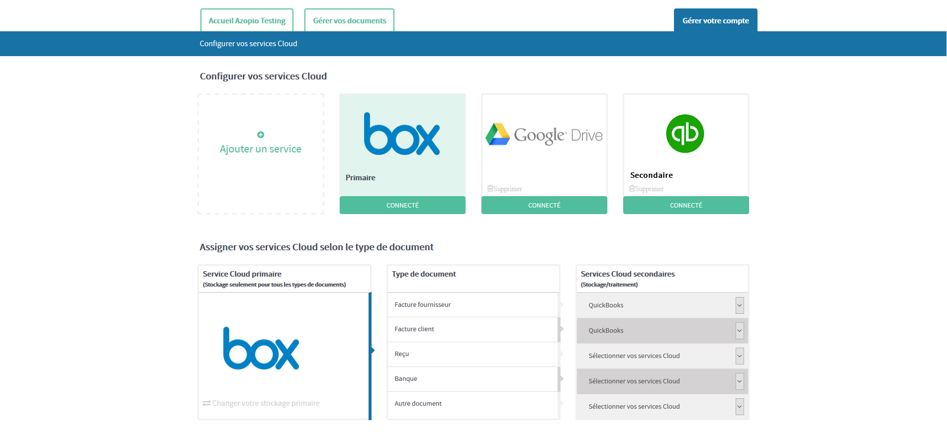 L'utilisateur peut configurer ses services de stockage Cloud (tels que Dropbox, Google Drive, Box et OneDrive) et ses logiciels de comptabilité en ligne (Quickbooks et Xero)