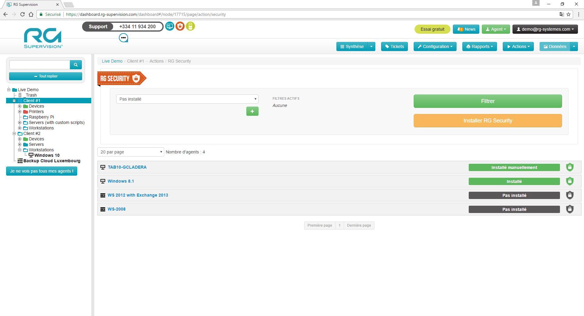 RG Security : interface de déploiement massif des agents RG Security