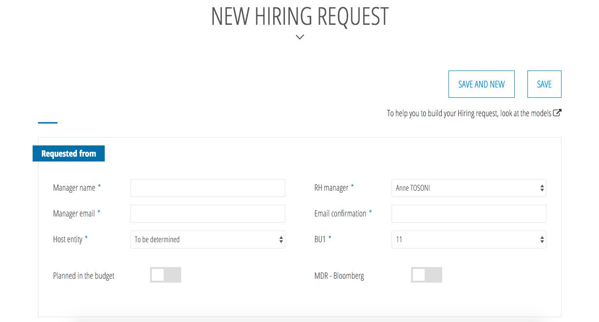 Exemple de formulaire de demande de recrutement