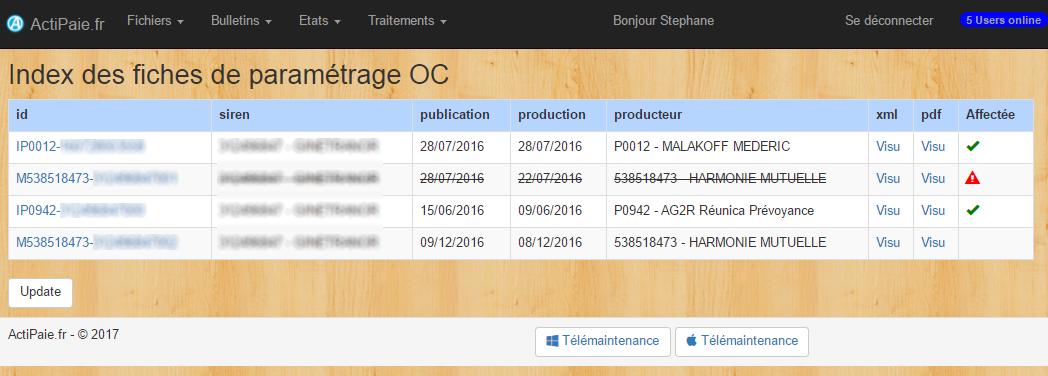 Réception et intégration de vos fiches de paramétrage OC