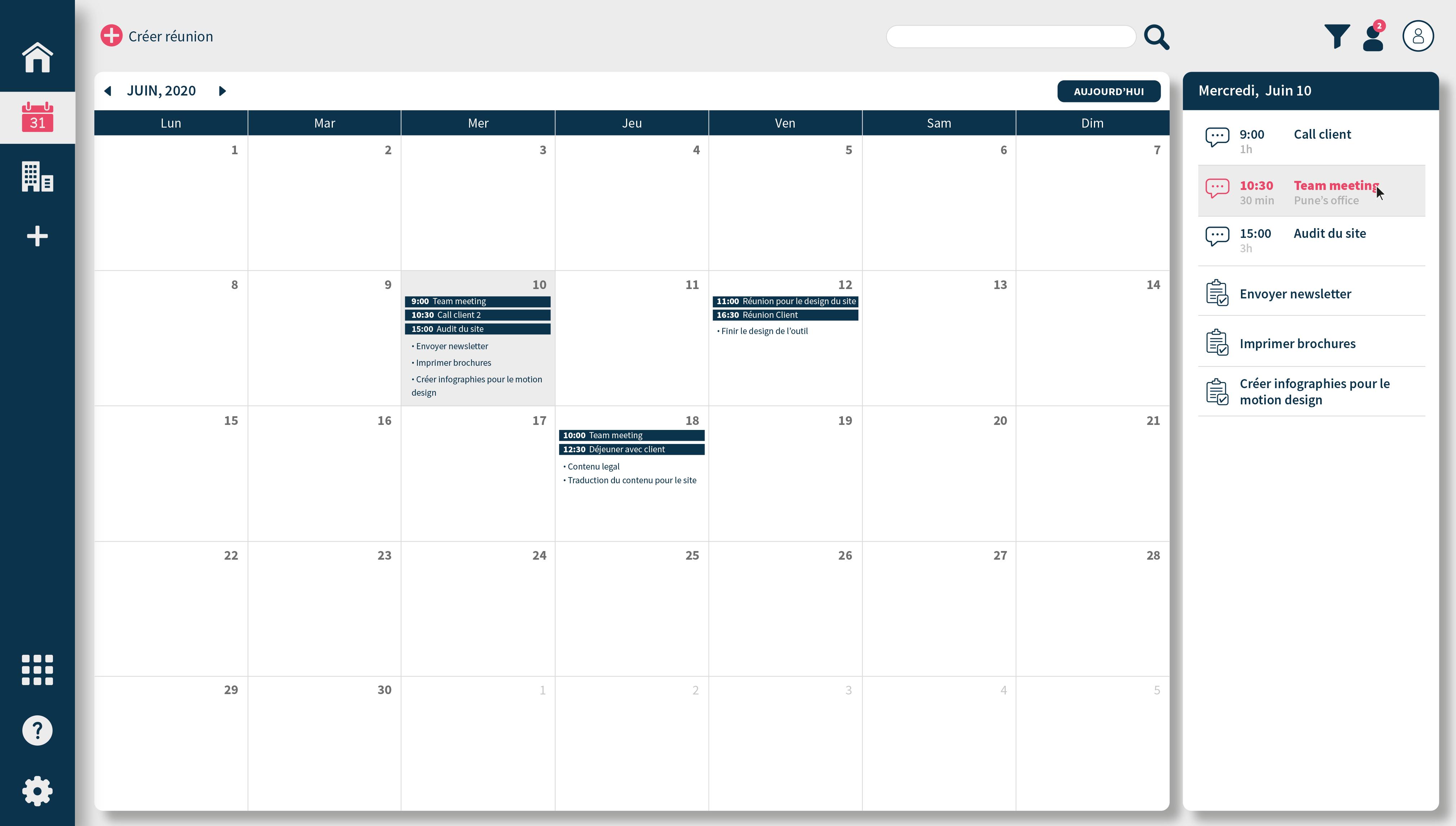 TAMPLO : Planification des réunions, actions et tâches à réaliser