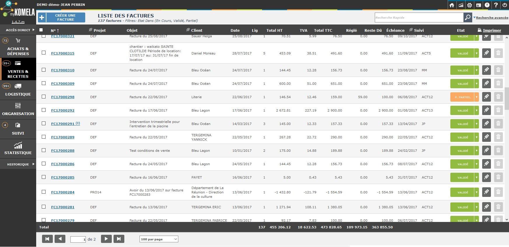 Liste des factures en cours avec statut d'avancement