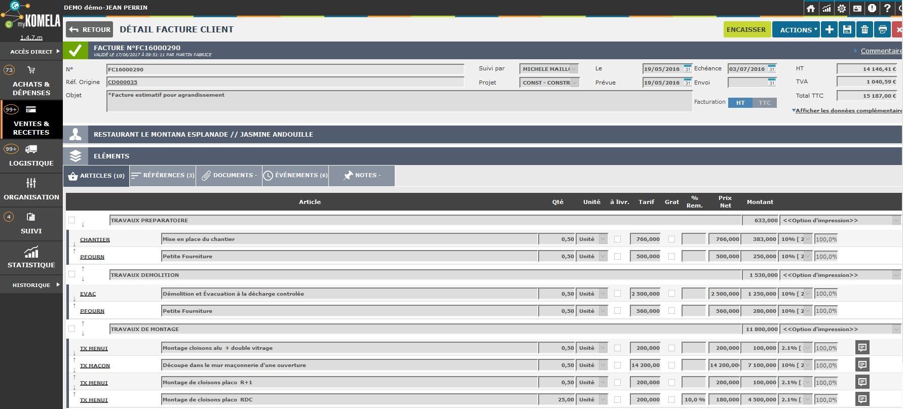 Détails d'une fiche facture avec les regroupement par article