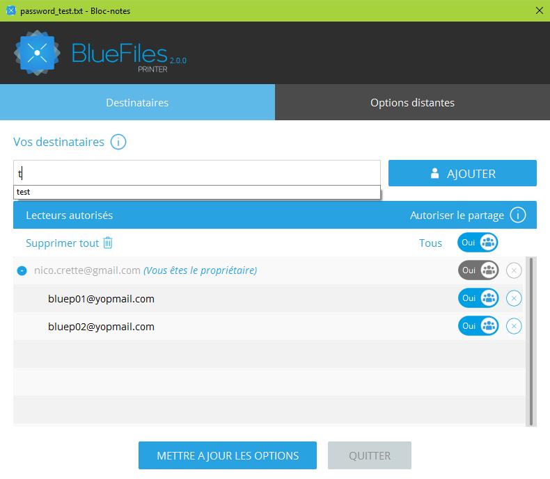 créateur d'un fichier .blue peut gérer les droits d'accès à son fichier à tout moment, même après sa diffusion