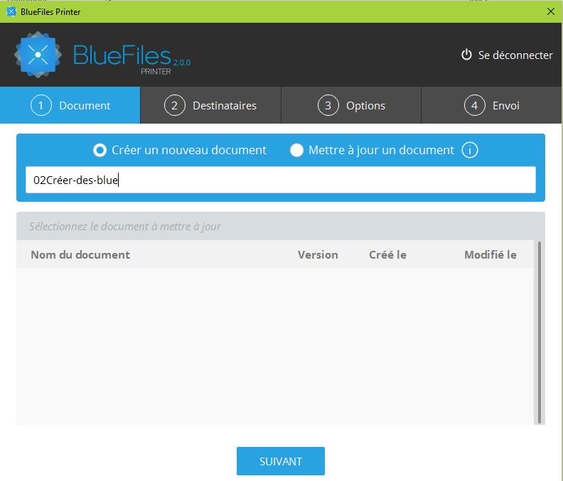 Impression au format BlueFiles