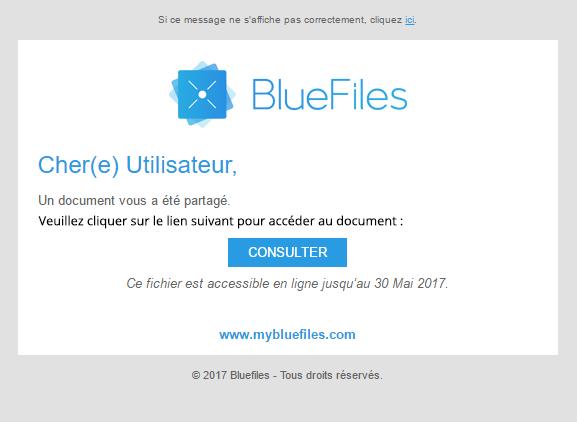 Les destinataires reçoivent un e-mail pour consulter le fichier (une authentification préalable est requise)