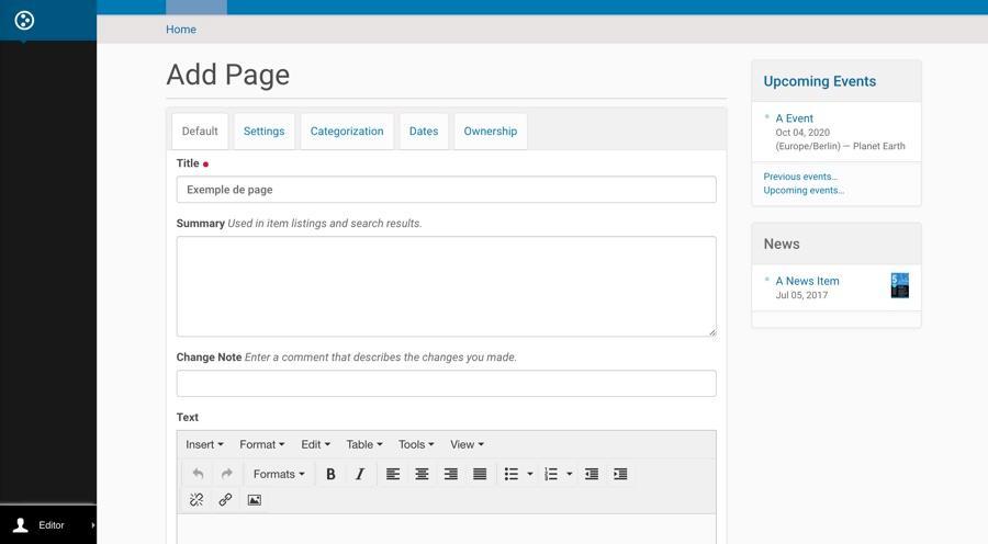 Création d'une nouvelle page de base dans Plone