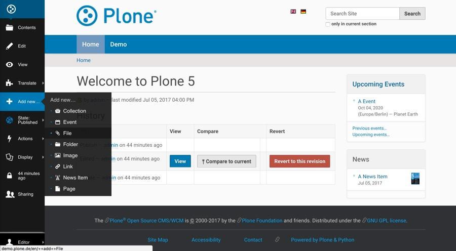 Panneau d'administration de Plone