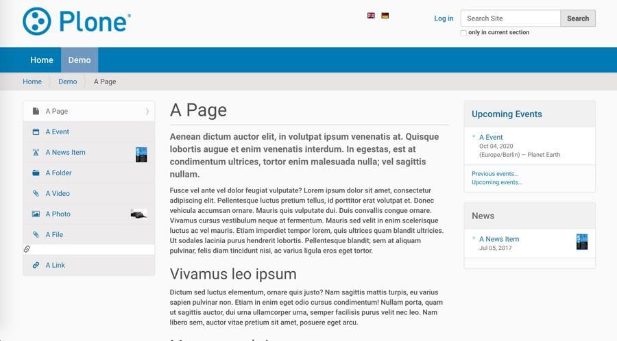 Exemple de page de base réalisée avec Plone