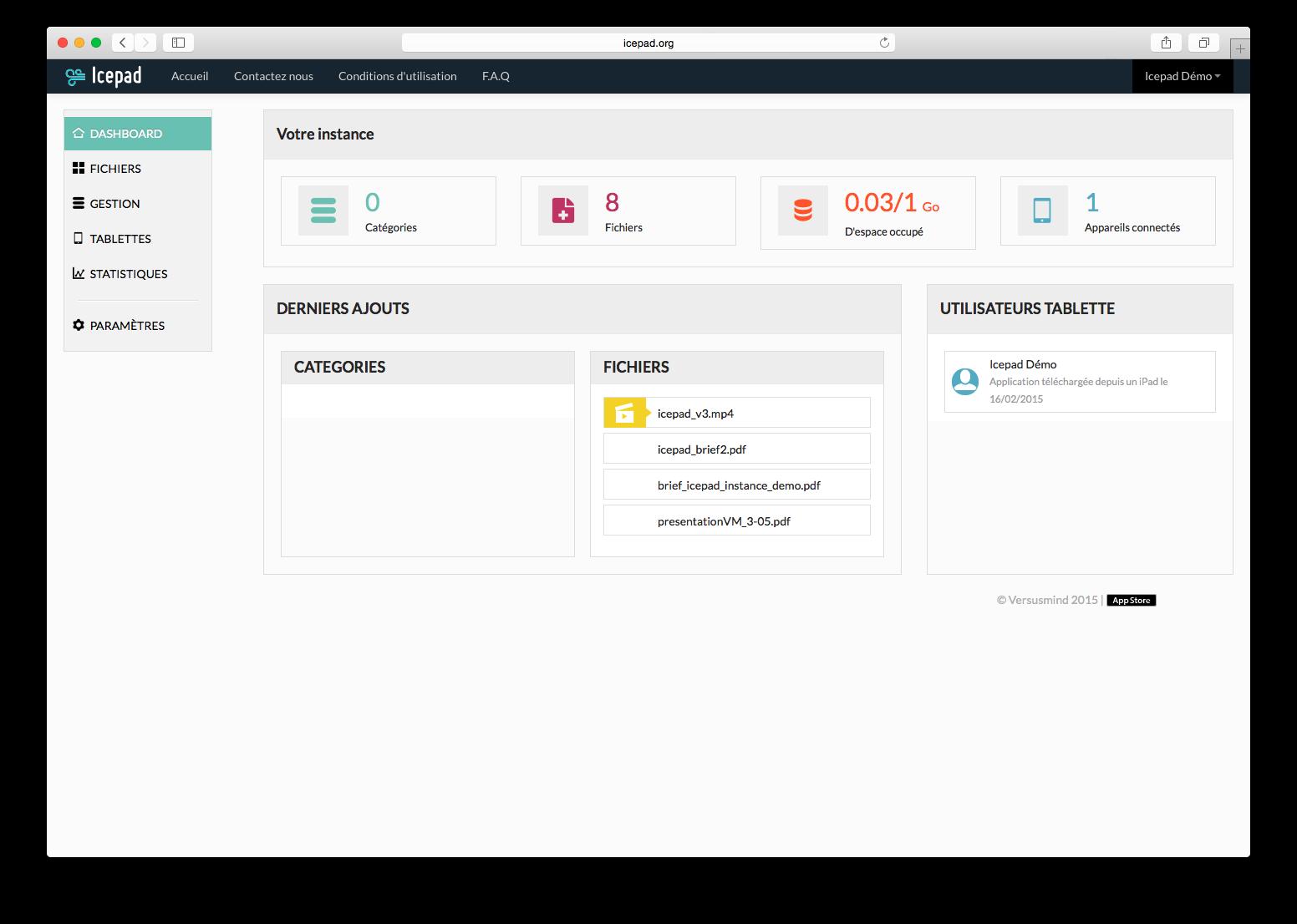 IcePad: Base de savoir (tutoriels, démos), Gestion des droits, Webmail (gestion des emails)