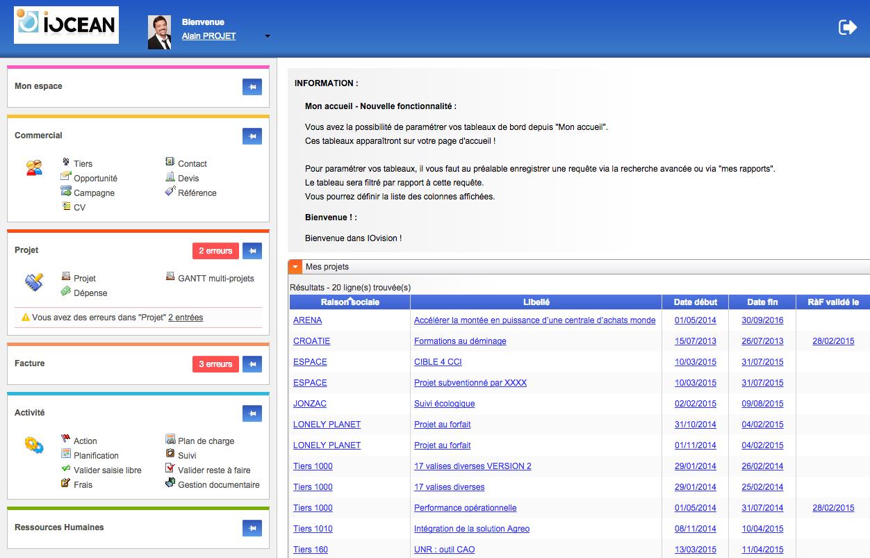 iovision: Envoi de documents par email, Planification de projets, Période d'essai