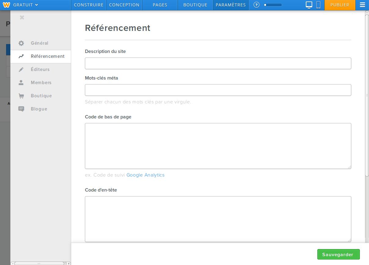 Weebly: Favicon personnalisé, Secure Sockets Layer (SSL), Editeur de pages (glisser/déposer)