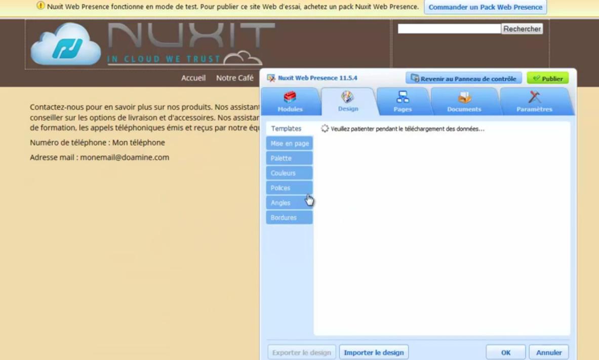 Nuxit: Sauvegarde quotidienne, Modèles de sites web, Intégration aux réseaux sociaux