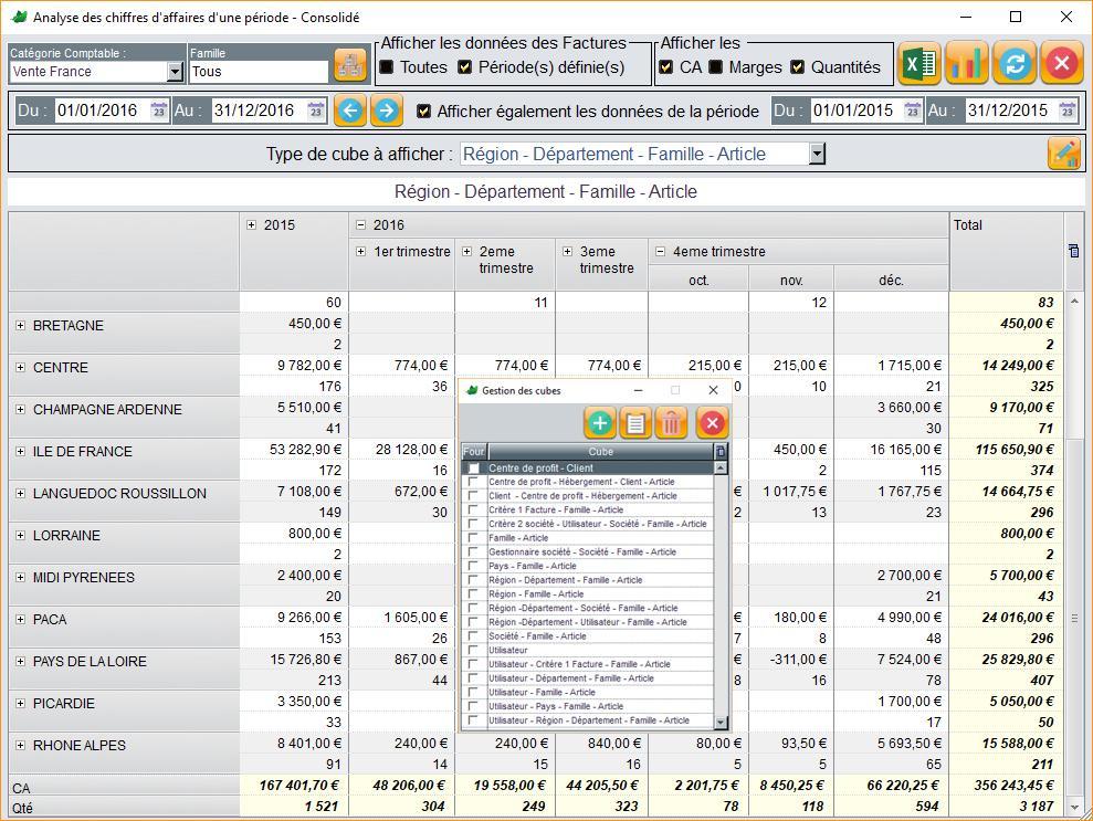Module de Business Intelligence pour tous vos reportings et toutes vos statistiques...