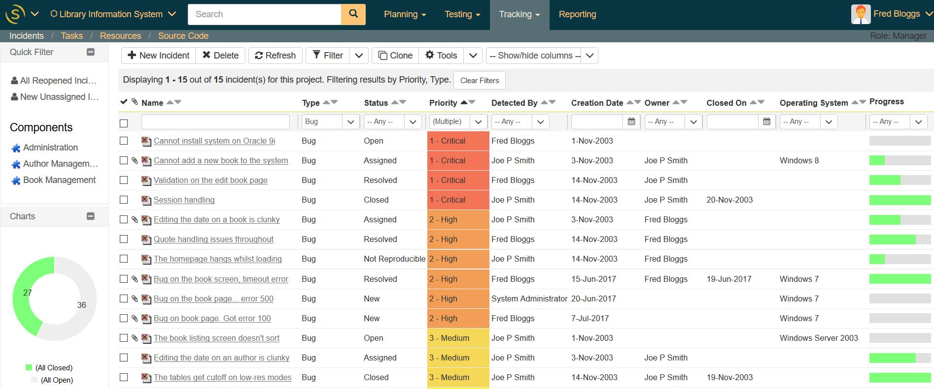 SpiraTest vous permet de rechercher, attribuer, suivre et gérer les incidents et les défauts.