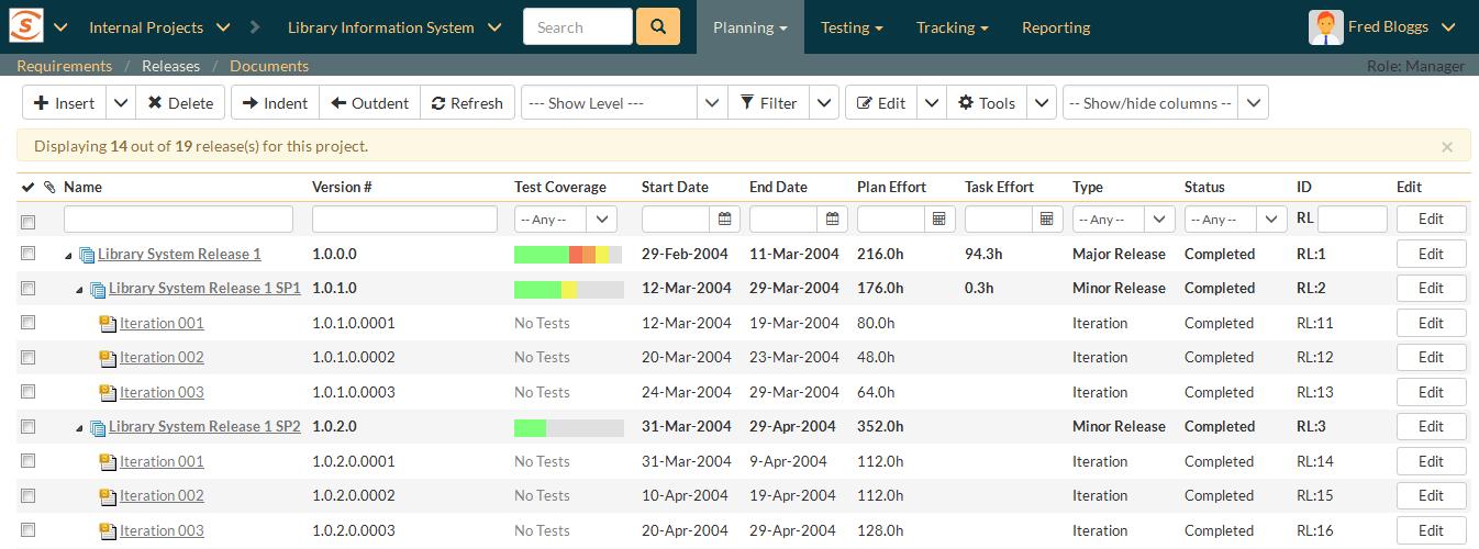 SpiraTest gère et planifie les versions et livraisons de vos projets tout au long du cycle de développement.