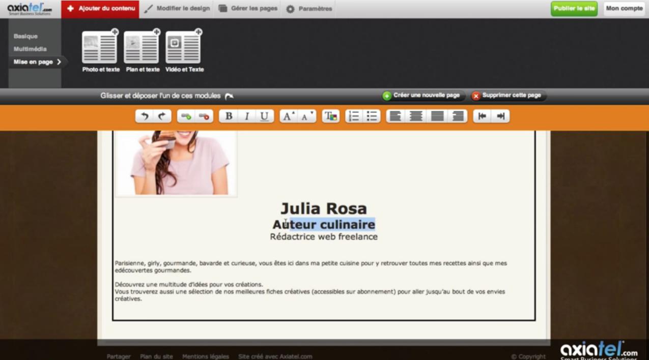Axiatel: Hébergement de site Web, Nom de domaine personnalisé, Menus et navigation