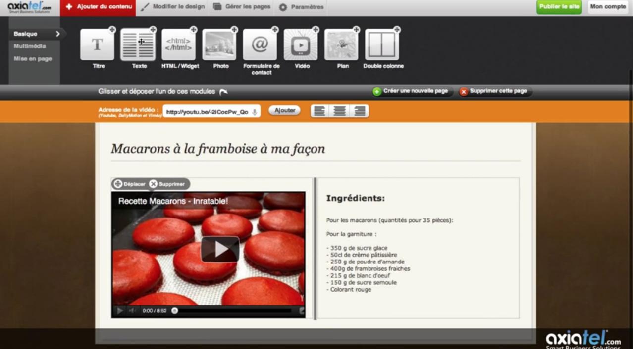 Axiatel: Lecteur vidéo, Hébergement de site Web, Menus et navigation
