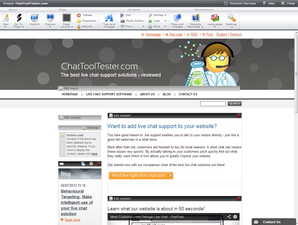 Webnode: Lecteur vidéo, Formulaire de contact, Menus et navigation