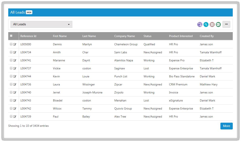 SutiCRM-SutiCRM Leads Screen