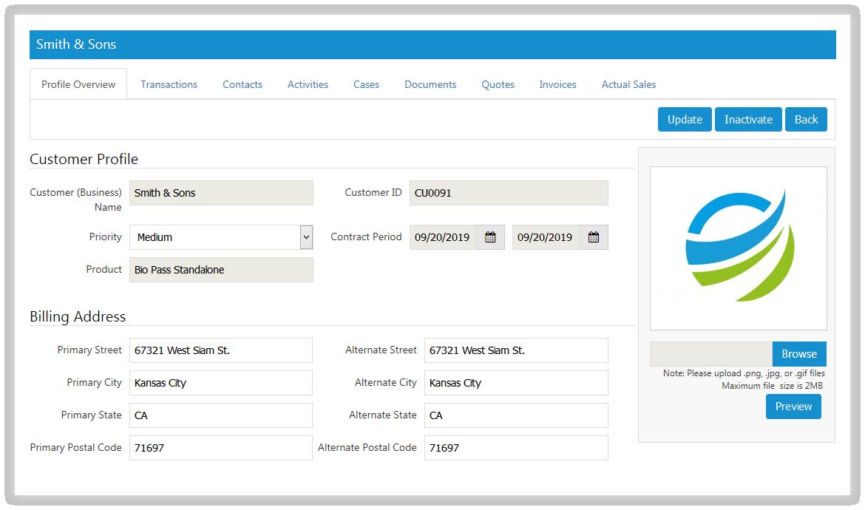 SutiCRM-SutiCRM Profile Screen