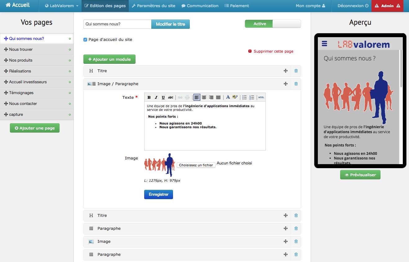 Lexik Mobile: Gestion des leads, Diaporama, Formulaire de contact
