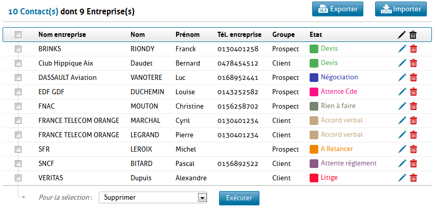 Gestion des contacts dans GRC Contact