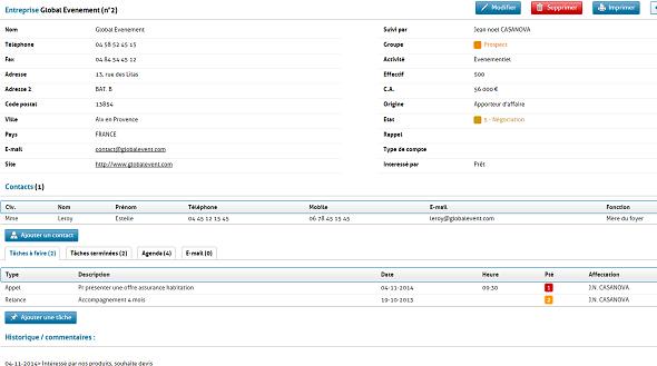 Gestion des fiches contact dans GRC Contact